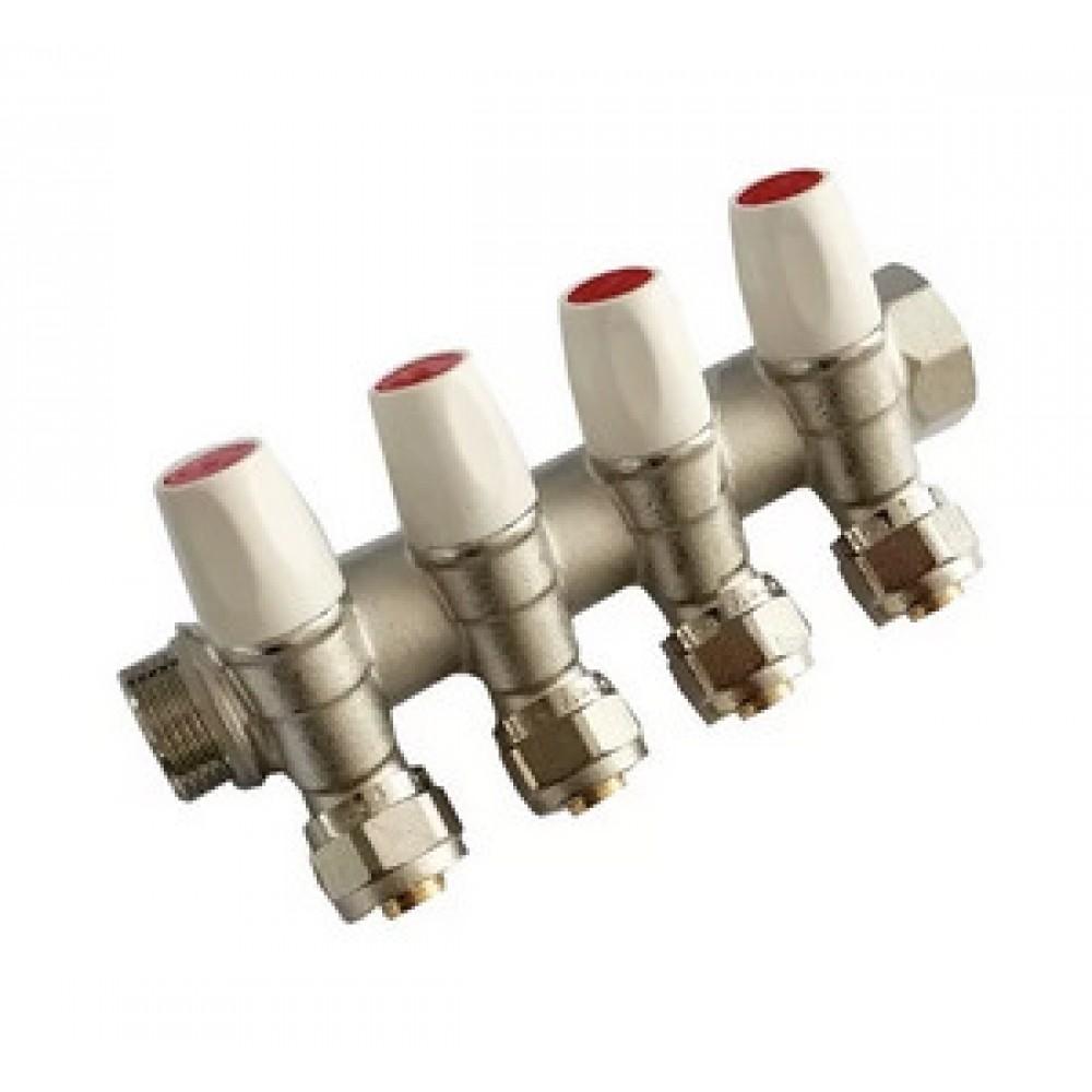 Коллектор с регулирующими вентилями 4 вых. Ø3/4